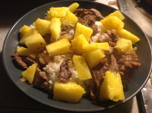 add the beef and  fresh fruit...