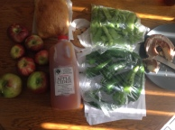 olive bread,cookies,donuts,apples, cider, peppers and peas